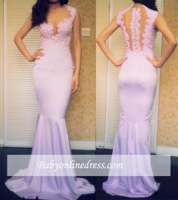 Sexy Appliques Mermaid Evening Gowns Sleeveless Sweep-Train Prom Dresses_1
