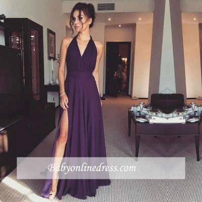 Long Halter Front Split Prom Dresses Modern Ruched Sash A-line Chiffon Evening Gowns_1