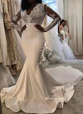 Elegant Long Sleeves Wedding Dresses | V-Neck Lace Mermaid Bridal Gowns_1