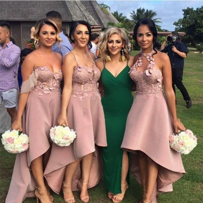Sexy Hi-Lo Bridesmaid Dresses | Appliques Sleeveless Wedding Guest dresses_3