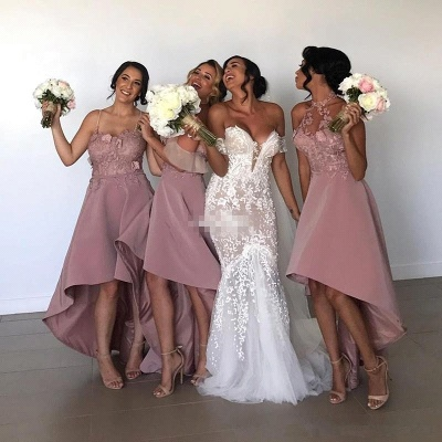 Sexy Hi-Lo Bridesmaid Dresses | Appliques Sleeveless Wedding Guest dresses_5