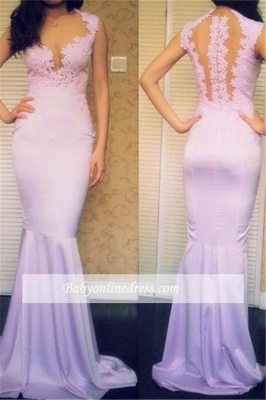 Sexy Appliques Mermaid Evening Gowns Sleeveless Sweep-Train Prom Dresses_3