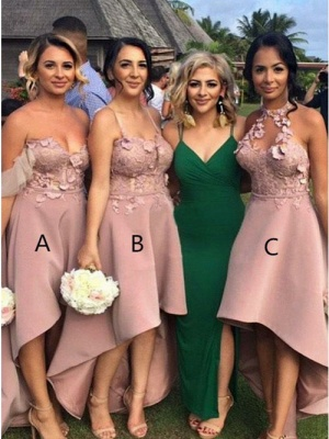 Sexy Hi-Lo Bridesmaid Dresses | Appliques Sleeveless Wedding Guest dresses_1