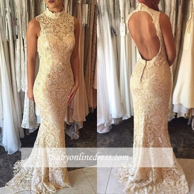 Elegant High-Neck Mermaid Open-Back Prom Dress 2018 Lace Sleeveless Evening Gowns_1