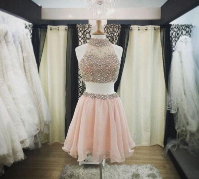 Halter-Neck Two-Piece Pink Blush Crystals Luxury Short Homecoming Dresses_3