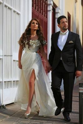 Off the Shoulder Prom Dresses Flowers Side Split Alluring Evening Gowns_3