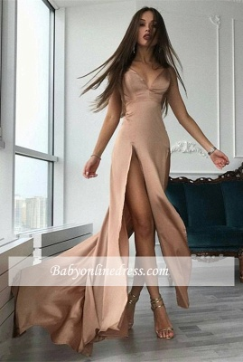 Sexy V-neck Front Split Prom Dresses A-line Modern Sleeveless Formal Gowns_3