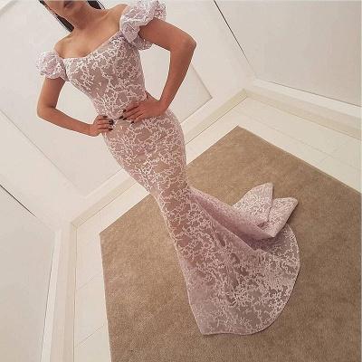 Elegant Lace Mermaid Evening Dresses   Juliet Sleeves Long Prom Dresses_3