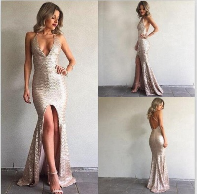 Sexy V-Neck Backless Mermaid Front-Split Sequined Prom Dress 2018_3