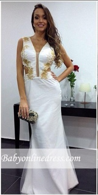 Sexy White V-neck Evening Gowns 2018 Floor-length Sheath Prom Dress_3