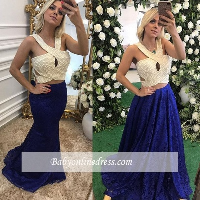 Sleeveless Long Lace Pearls Elegant Evening Dresses_3