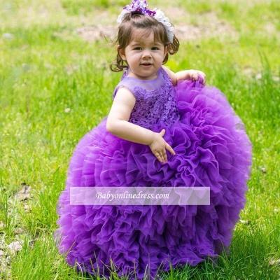 2018 Lovely Purple Lace Ball-Gown Sleeveless Floor-Length Flower Girl Dress
