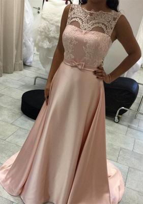 Elegant Long A-Line Evening Dress Lace Sleeveless Prom Dresses_2