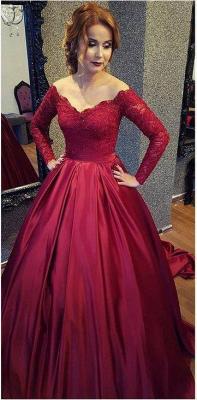 Burgundy A-line V-neck Off-shoulder Long Sleeves Lace Top Prom Dresses_1