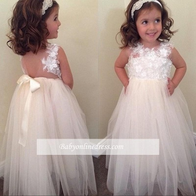 Cute A-line Bowknot Floral-Appliques Floor-Length Flower Girl Dresses_1