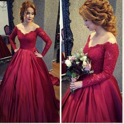 Burgundy A-line V-neck Off-shoulder Long Sleeves Lace Top Prom Dresses_3