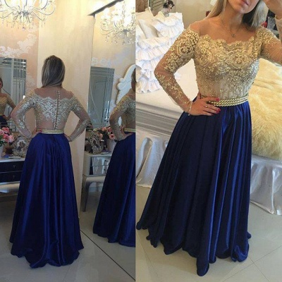 Gold Pink Prom Dresses Long Sleeves Crystals Beaded Off the Shoulder Lace Evening Gowns_3