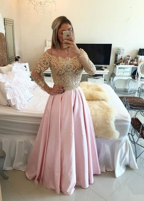 Gold Pink Prom Dresses Long Sleeves Crystals Beaded Off the Shoulder Lace Evening Gowns_1