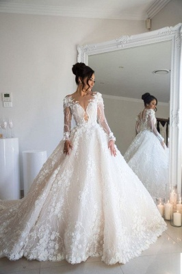 Gorgeous Jewel Long Sleeve Crystal Wedding Dresses | A Line Bridal Gown With 3D Flowers