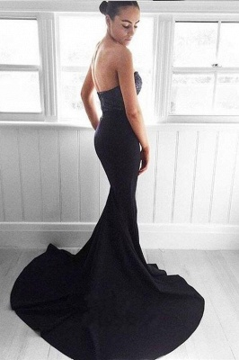 2018 Glamorous Navy Mermaid Sequins Sweetheart Sweep-Train Evening Dress BA5044_4
