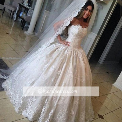 Gorgeous Lace Sweetheart Wedding Dresses Princess Ball-Gown Bridal Gowns_1