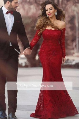 Off-the-shoulder Long-Sleeve Red Elegant Lace Mermaid Long Evening Dress_3