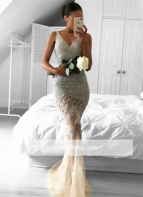 Gorgeous Sleeveless Lace-Appliques Beads Straps Tulle Mermaid Evening Gowns_3