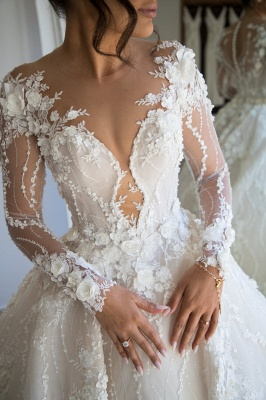 Gorgeous Jewel Long Sleeve Crystal Wedding Dresses | A Line Bridal Gown With 3D Flowers_3