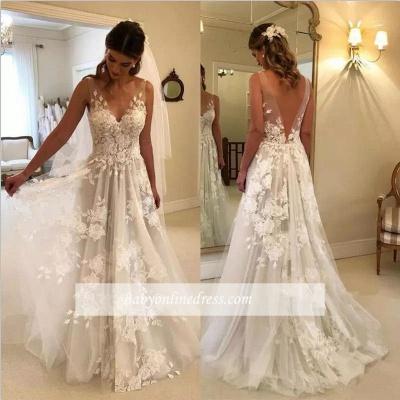 Elegant A-line Wedding Dresses | V-Neck Rose Appliques Backless Bridal Gowns_1