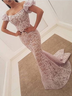 Elegant Lace Mermaid Evening Dresses | Juliet Sleeves Long Prom Dresses_1
