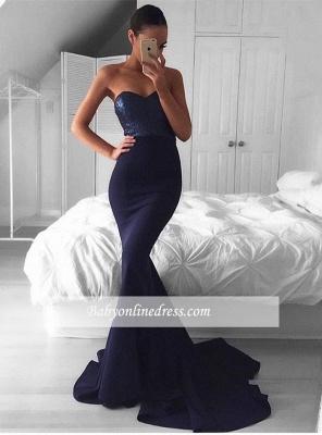 2018 Glamorous Navy Mermaid Sequins Sweetheart Sweep-Train Evening Dress BA5044_3