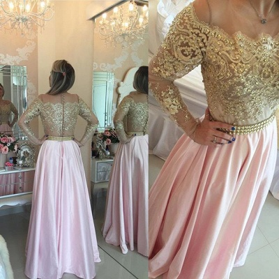 Gold Pink Prom Dresses Long Sleeves Crystals Beaded Off the Shoulder Lace Evening Gowns_2