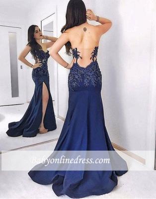 Dark-blue Mermaid Sweetheart Sweep-train Lace Split-front Evening Dress_1