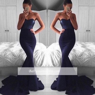 2018 Glamorous Navy Mermaid Sequins Sweetheart Sweep-Train Evening Dress BA5044_1