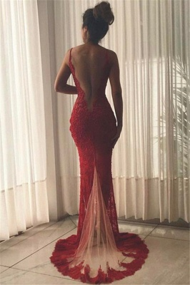 Sexy Burgundy Lace Evening Gowns | Side Split Mermaid Prom Dresses SP0386_3
