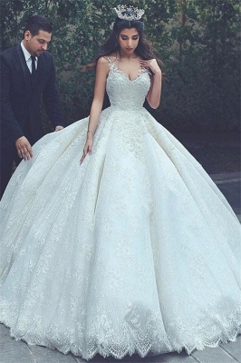 Gorgeous Straps V Neck Lace Ball Gown Wedding Dresses | Princess Puffy Bridal Gown