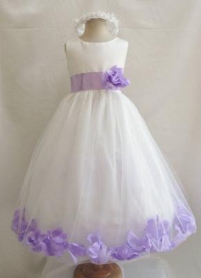White Tulle A-Line Flower Girl Dresses Floor Length Party Dress with Handmade Flowers_1