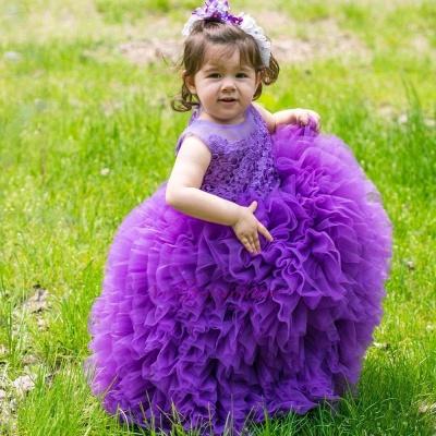 Lovely Purple Lace Ball-Gown Sleeveless Floor-Length Flower Girl Dress_4