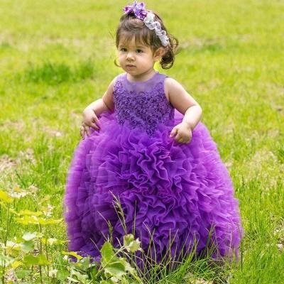 Lovely Purple Lace Ball-Gown Sleeveless Floor-Length Flower Girl Dress_3