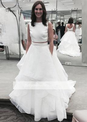 White Two Piece Jewel A-line Bridal Gowns Sleeveless Ruffles Wedding Dress_1