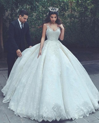 Gorgeous Straps V Neck Lace Ball Gown Wedding Dresses | Princess Puffy Bridal Gown_2