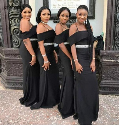 Chic Black Strapless Bridesmaid Dresses | Spaghettis Straps Beading Belt Wedding Party Dress_4