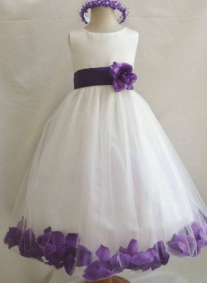 White Tulle A-Line Flower Girl Dresses Floor Length Party Dress with Handmade Flowers_2