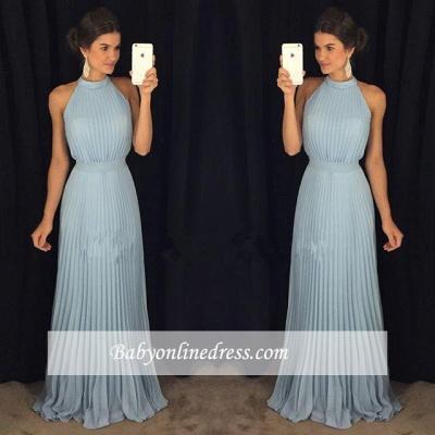 Sexy Halter Sleeveless Prom Dress Long Floor-Length Evening Gowns_1