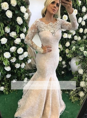 Long-Sleeve Appliques Lace Mermaid Stunning Floor-Length Evening Dress_3