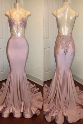 Spaghetti Straps Pink Mermaid Prom Dresses | Backless Sparkling Beads Sequins Evening Gown_1
