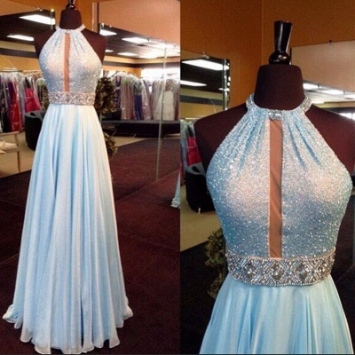 Glamorous A-Line Chiffon Hatler Prom Dresses Crystal Floor Length Evening Gowns_3