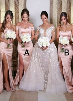 Sexy Side Slit Mermaid Bridesmaid Dresses | Sweetheart Sleeveless Wedding Guest Dresses_1