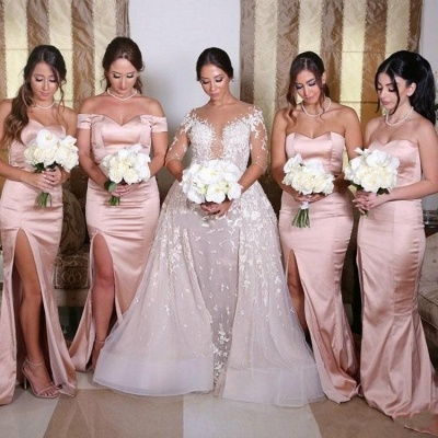 Sexy Side Slit Mermaid Bridesmaid Dresses | Sweetheart Sleeveless Wedding Guest Dresses_3