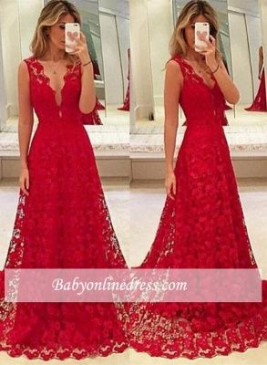 Red Lace A-Line V-Neck Evening Gowns 2018 Sleeveless Sweep-Train Prom_3